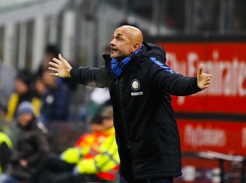 Inter Milan coach Luciano Spalletti gesticulates during an Italian Cup quarter-final soccer match between Milan and Inter Milan at the San Siro stadiu...