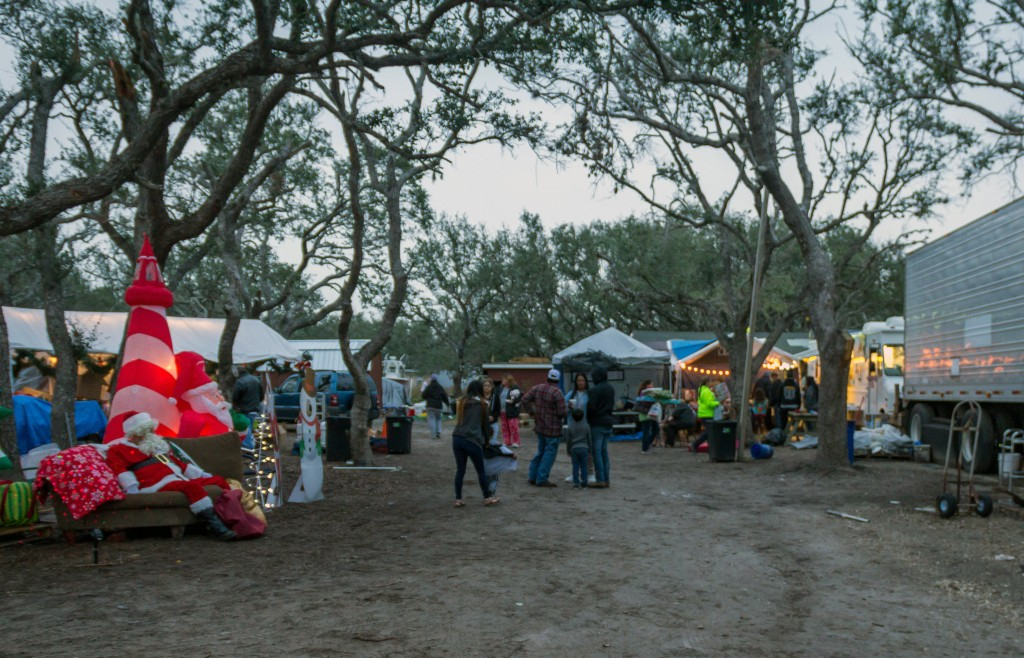 In this Dec. 15, 2017 photo provided by Kim Porter, shows a general view inside the Rockport Relief Camp in Rockport, Texas. The federal government ty...