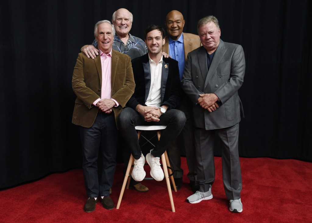 In this Wednesday, Nov. 29, 2017 photo, Henry Winkler, from left, Terry Bradshaw, Jeff Dye, George Foreman and William Shatner, cast members in the NB...