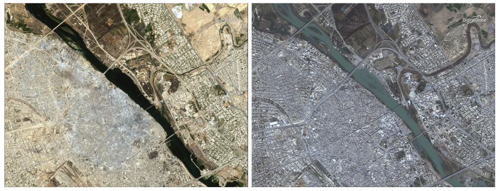 COMBO - This combination of two satellite image released by DigitalGlobe shows the Old City of Mosul, Iraq on July 8, 2017 after a punishing nine mont...