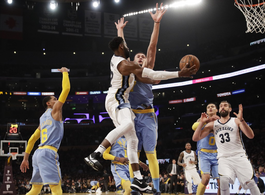 Memphis Grizzlies' Tyreke Evans, center left, passes the ball to Marc Gasol, right, as he is pressured by Los Angeles Lakers' Larry Nance Jr. during t...