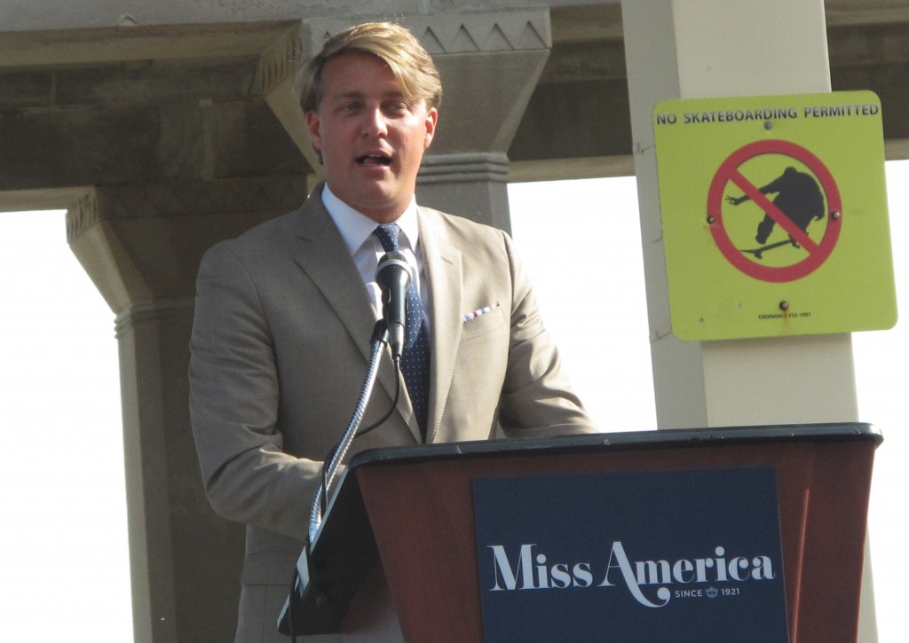FILE- This Aug. 30, 2017, file photo shows Josh Randle, president of the Miss America Organization, speaking at a welcoming ceremony for pageant conte...