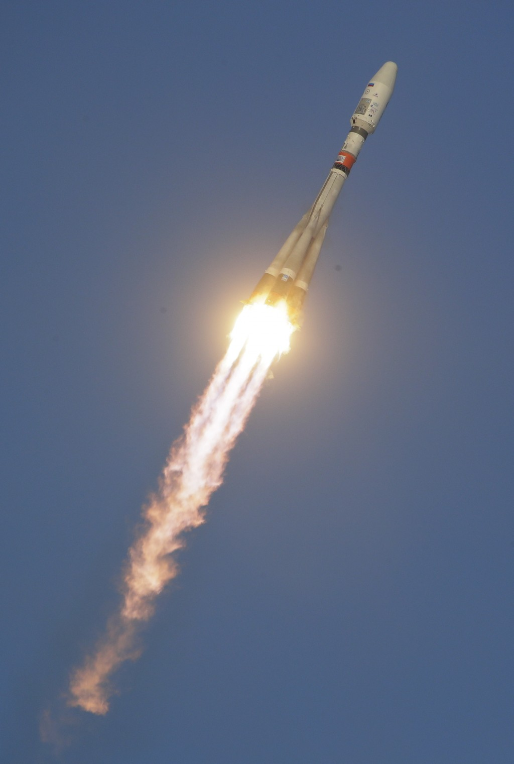FILE - In this Tuesday, Nov. 28, 2017 file photo, a Russian Soyuz 2.1b rocket carrying Meteor M satellite and additional 18 small satellites, flies in...