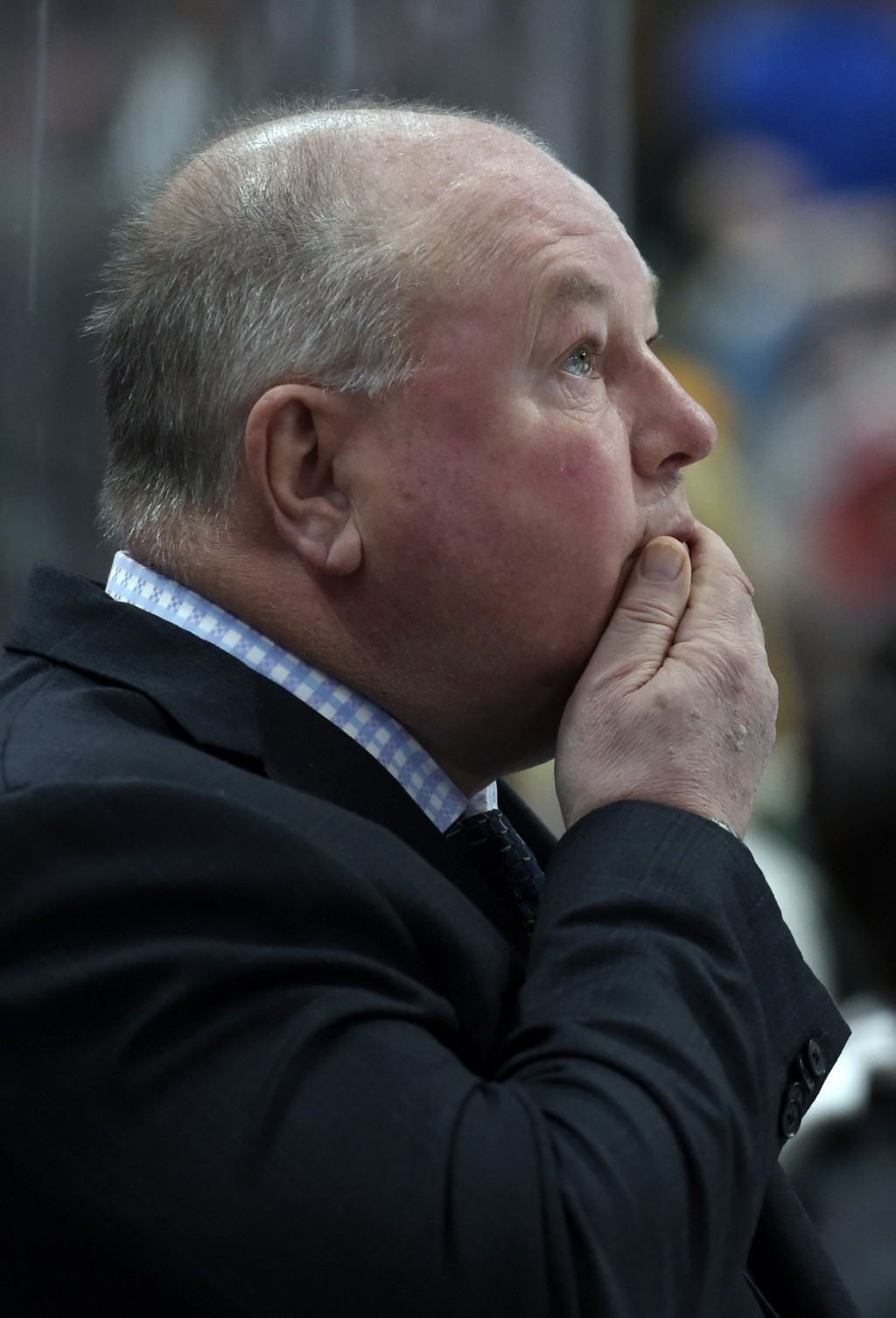 Minnesota Wild coach Bruce Boudreau watches his team play the Dallas Stars during the second period of an NHL hockey game Wednesday, Dec. 27, 2017, in...