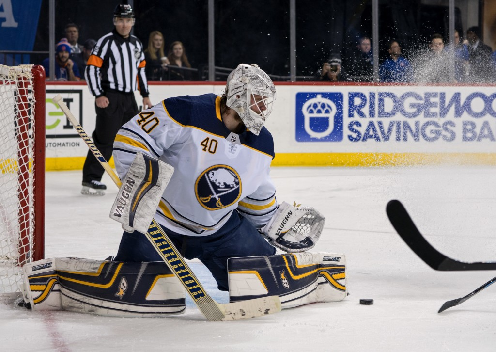 Buffalo Sabres' goalie Robin Lehner blocks a shot during the second period of an NHL hockey game against the New York Islanders, Wednesday, Dec. 27, 2...