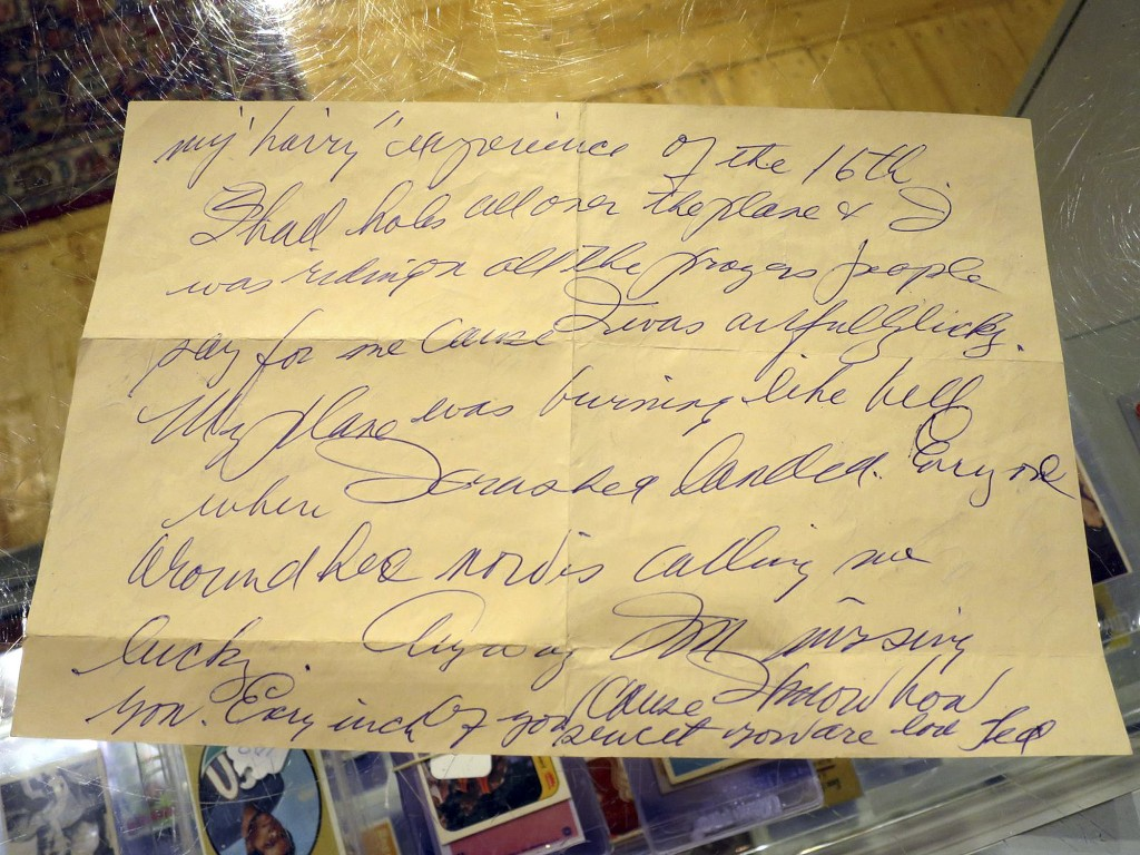 This Dec. 22, 2017, photo shows part of a letter in Biddeford, Maine,,written by Boston Red Sox slugger Ted Williams the day after he crash-landed his...