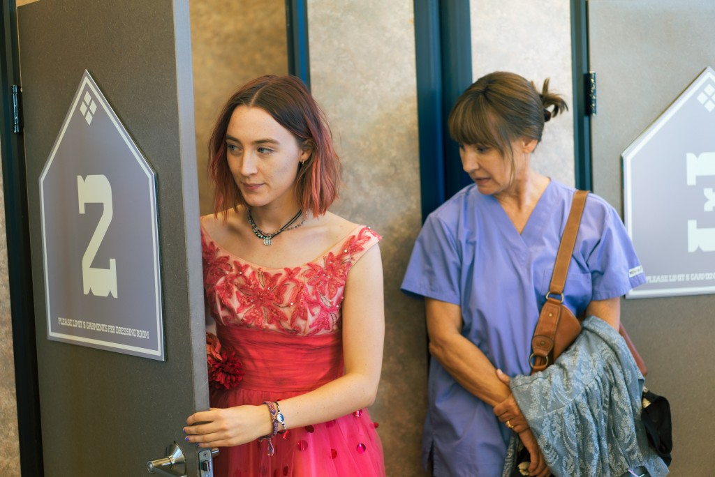 "FILE- This file image released by A24 Films shows Saoirse Ronan, left, and Laurie Metcalf in a scene from ""Lady Bird."" Ronan says she hopes that her l..."