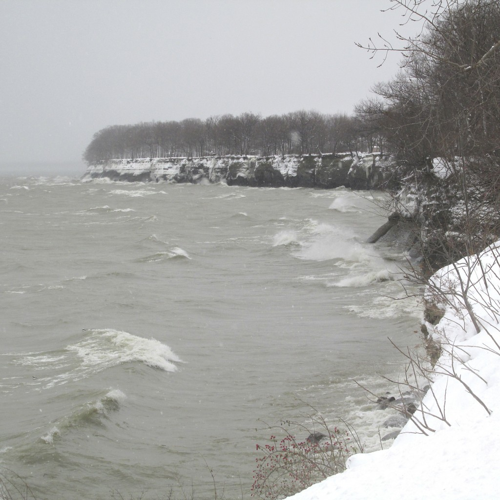 In this Tuesday, Dec. 26, 2017 photo, the surf from Lake Erie pounds the shore in Dunkirk, N.Y., driven by cold winds with lake effect snow. The Natio...