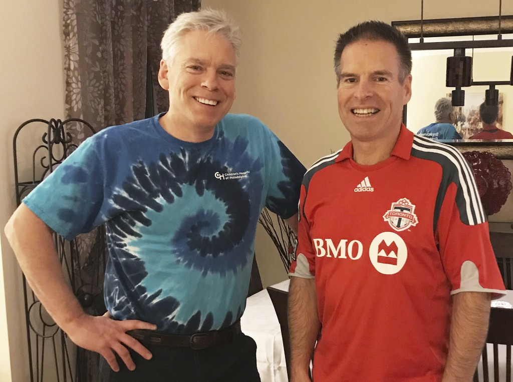 FILE - This Saturday, Dec. 2, 2017 photo provided by Jay Konduros, left, shows him and his brother, Bill, at Jay's home in Cambridge, Ontario, Canada....