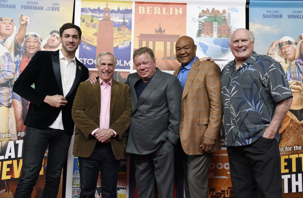In this Wednesday, Nov. 29, 2017, photo, Jeff Dye, from left, Henry Winkler, William Shatner, George Foreman and Terry Bradshaw, cast members in the N...