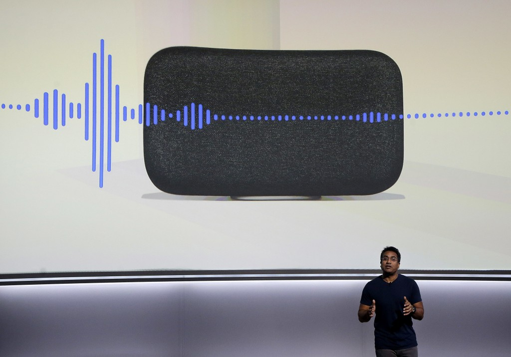 FILE - In this  Wednesday, Oct. 4, 2017, file photo, Google's Rishi Chandra speaks about the Google Home Max speaker at a Google event in San Francisc...