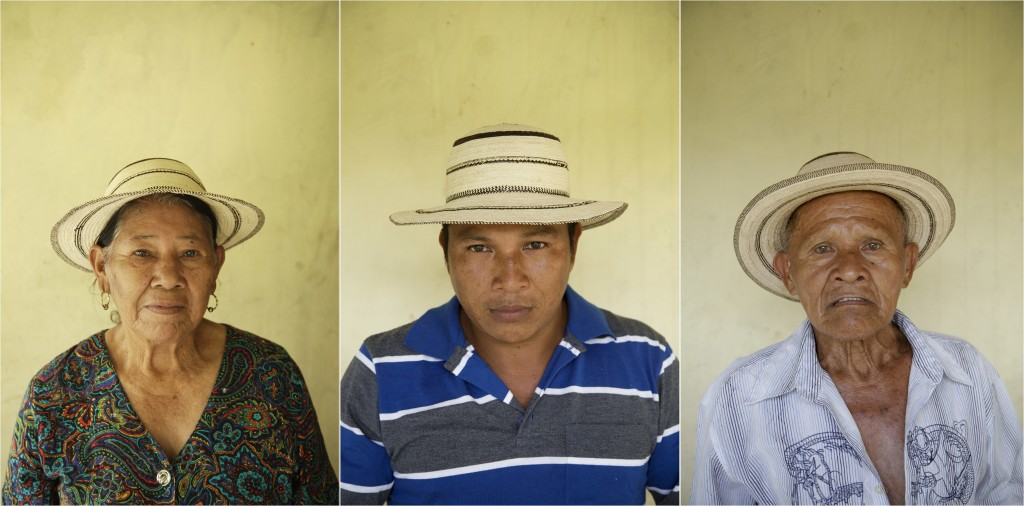 In this combination of photos taken on Saturday, Dec. 16, 2017, Anasaria Ortiz, 74, left, herson Juan Carlos Gutierrez, 37, center, and her husband Pa...