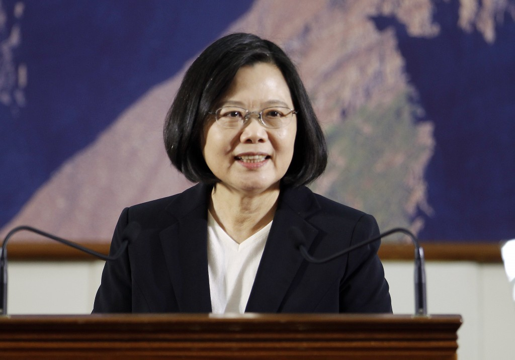 Taiwan's President Tsai Ing-wen delivers a speech during the year-end media event at the National Chung-Shan Institute of Science & Technology in Taoy...