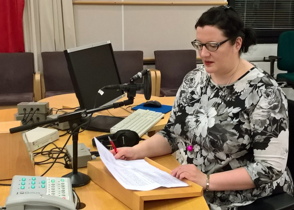 In this photo taken on Dec. 21 2017, announcer Laura Nissinen prepares to read the news in Latin for the Nuntii Latini program at the Radio1 studio of...