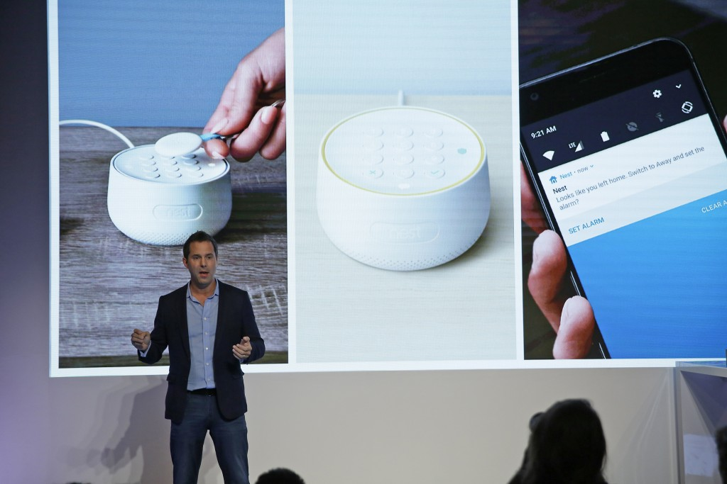 FILE - In this Wednesday, Sept. 20, 2017, file photo, Maxime Veron, head of product marketing for Nest Labs, talks about the features of the Nest Secu...