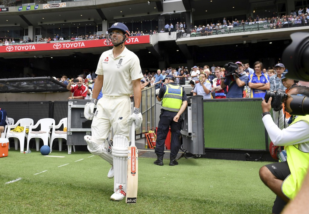 England's Alastair Cook prepares to run out against Australia at the start of the fourth day of their Ashes cricket test match in Melbourne, Australia...