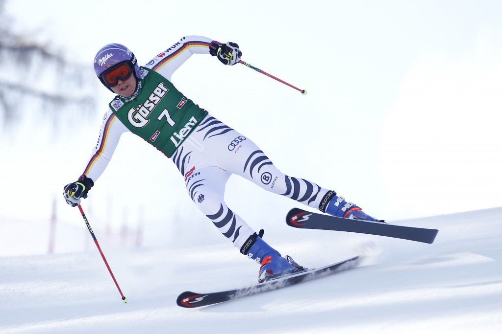 Germany's Viktoria Rebensburg competes during an alpine ski women's World Cup giant slalom, in Lienz, Austria, Friday, Dec. 29, 2017. (AP Photo/Giovan...