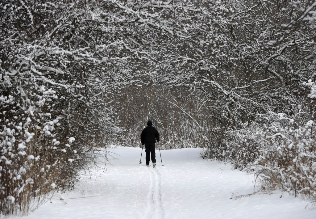 Joe Scharpf cross country skis on a trail after a fresh snowfall in the south chagrin reservation of the Cleveland Metroparks, Thursday, Dec. 28, 2017...