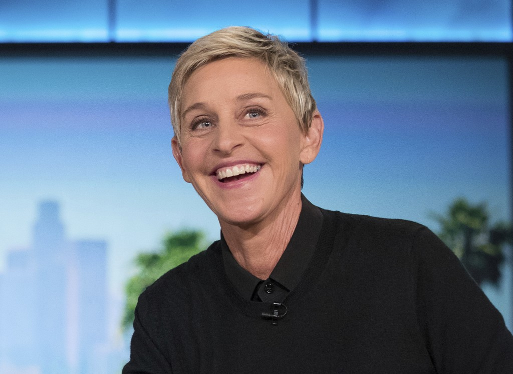 "FILE - In this Oct. 13, 2016, file photo, Ellen Degeneres appears during a commercial break at a taping of ""The Ellen Show"" in Burbank. DeGeneres is k..."