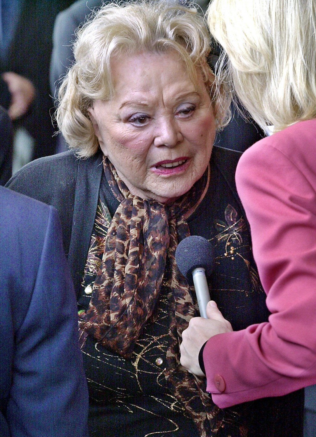 FILE- In this April 1, 2002, file photo, actress and comedian Rose Marie talks to the press as she arrives for a ceremony honoring comedian Milton Ber...