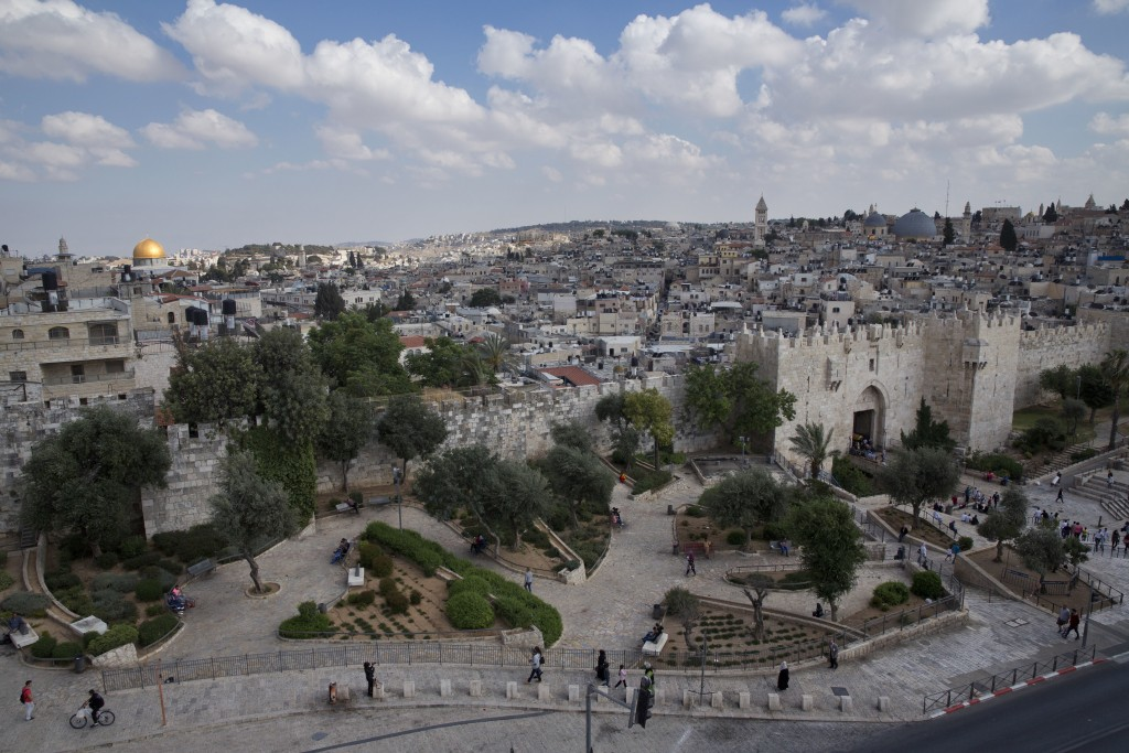 In this Saturday, May 20, 2017 photo, a view of Jerusalem Old City and Damascus Gate, Saturday, May. 20, 2017. Jerusalem's iconic Old City walls have ...