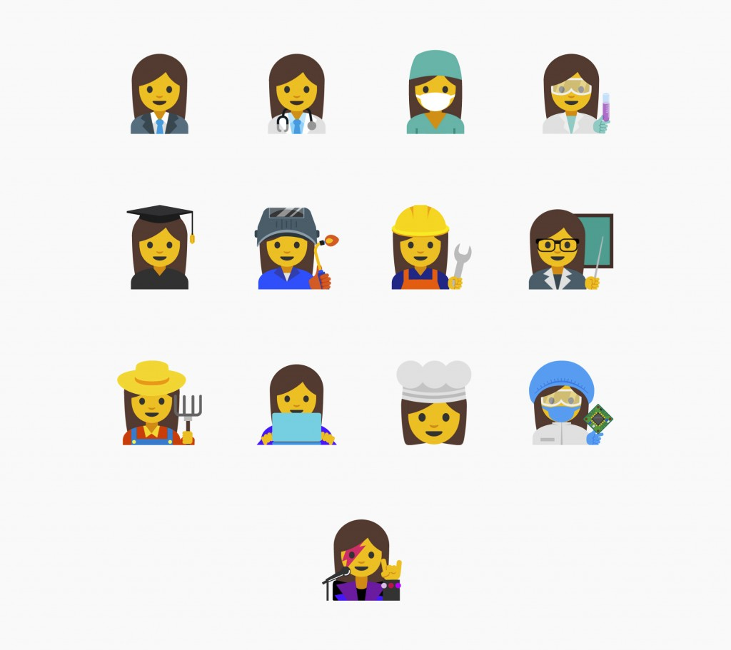 FILE - This undated file image provided by Google shows the emojis the company proposed that highlight the diversity of women's careers. Eleven of the...