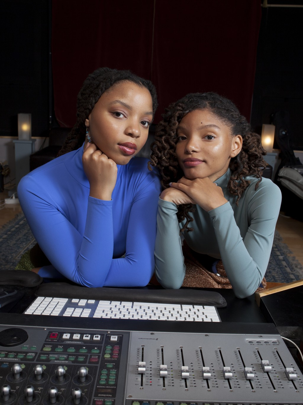 """In this Dec. 22, 2017 photo, Halle Bailey, left, and Chloe Bailey of """"Chloe x Halle"""" pose for a portrait at RMC Studio in Los Angeles. (Photo by Rebec..."""