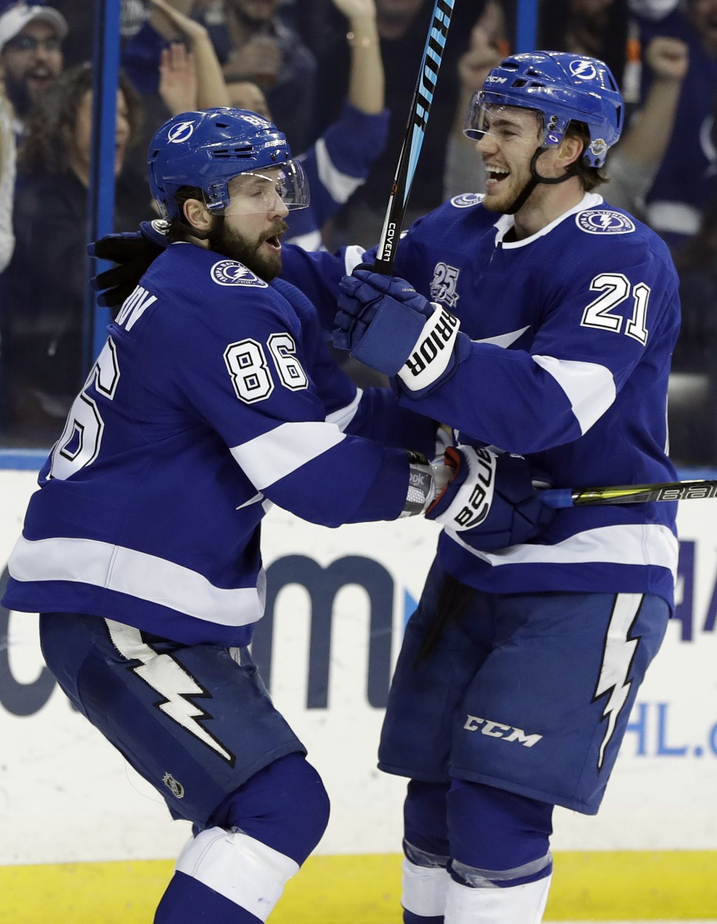 Tampa Bay Lightning center Brayden Point (21) celebrates his goal against the Philadelphia Flyers with right wing Nikita Kucherov (86), of Russia, dur...