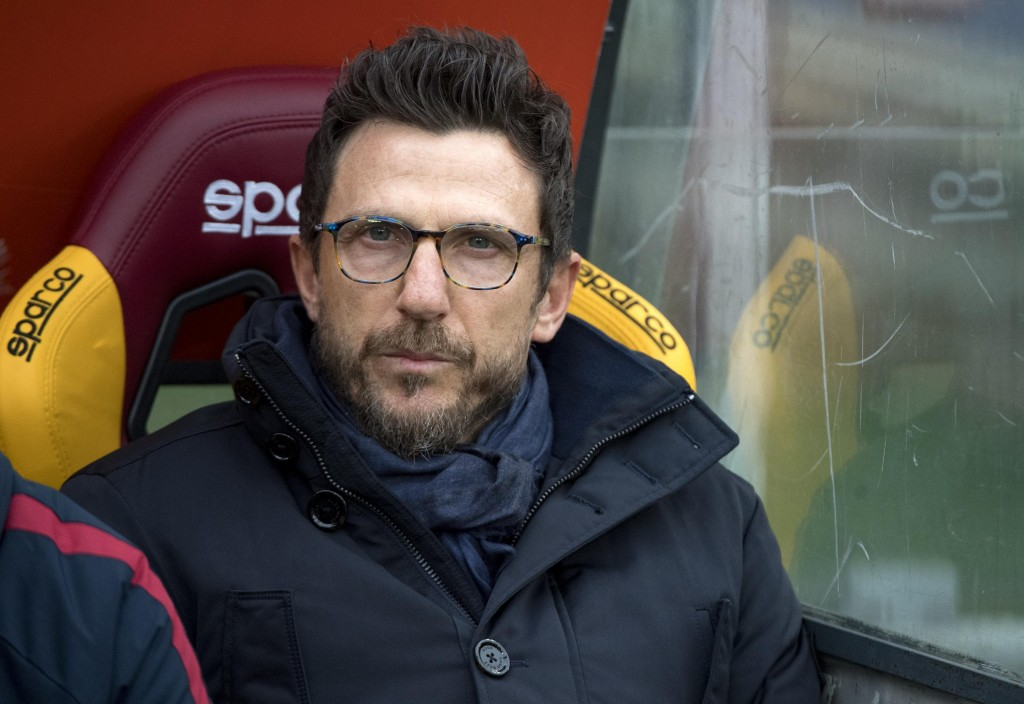 Roma's coach Eusebio Di Francesco looks on prior to the start of the Italian Serie A soccer match between AS Roma and Sassuolo at the Olympic stadium ...