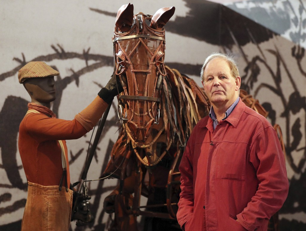 FILE - In this July 20, 2017 file photo, author and playwright Michael Morpurgo poses for photographers during the opening of the V&A Museum new exhib...