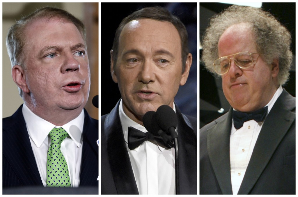 This combination of photos shows Seattle Mayor Ed Murray, actor Kevin Spacey, and orchestral conductor James Levine. Among the dozens of prominent Ame...