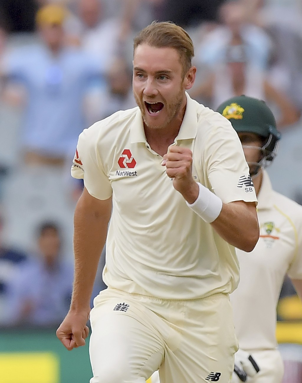 England's Stuart Broad celebrates taking the wicket of Australia's Shaun Marsh caught out for 4 runs during the fifth day of their Ashes cricket test ...