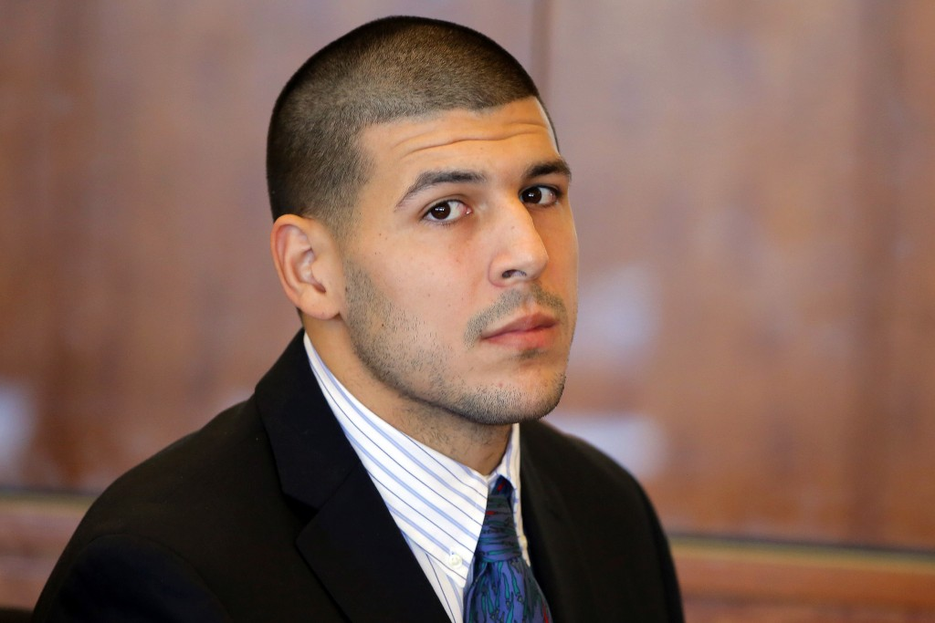 FILE - In this Oct. 9, 2013, file photo, former New England Patriots NFL football player Aaron Hernandez attends a pretrial court hearing in Fall Rive...