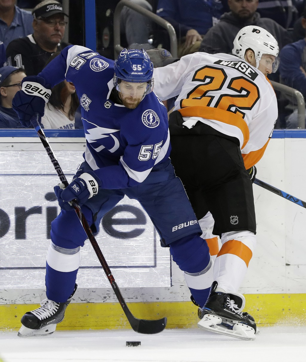 Tampa Bay Lightning defenseman Braydon Coburn (55) strips the puck from Philadelphia Flyers right wing Dale Weise (22) during the first period of an N...