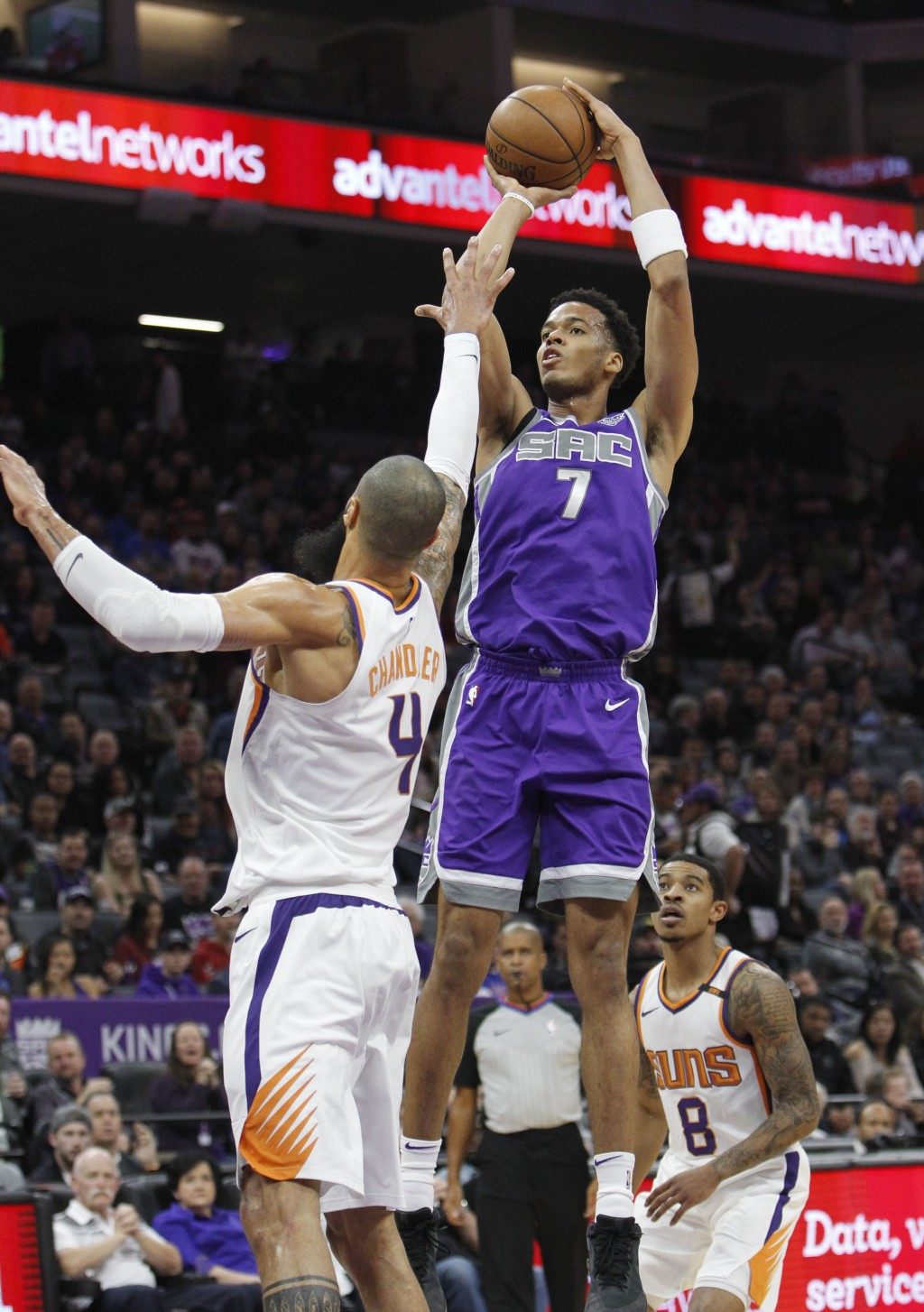Sacramento Kings forward Skal Labissiere (7) shoots over Phoenix Suns center Tyson Chandler (4) during the first half of an NBA basketball game in Sac...