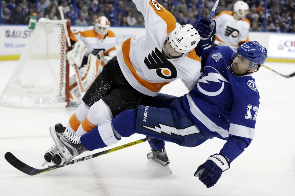 Philadelphia Flyers defenseman Radko Gudas (3), of the Czech Republic, takes down Tampa Bay Lightning left wing Alex Killorn (17) with a check during ...