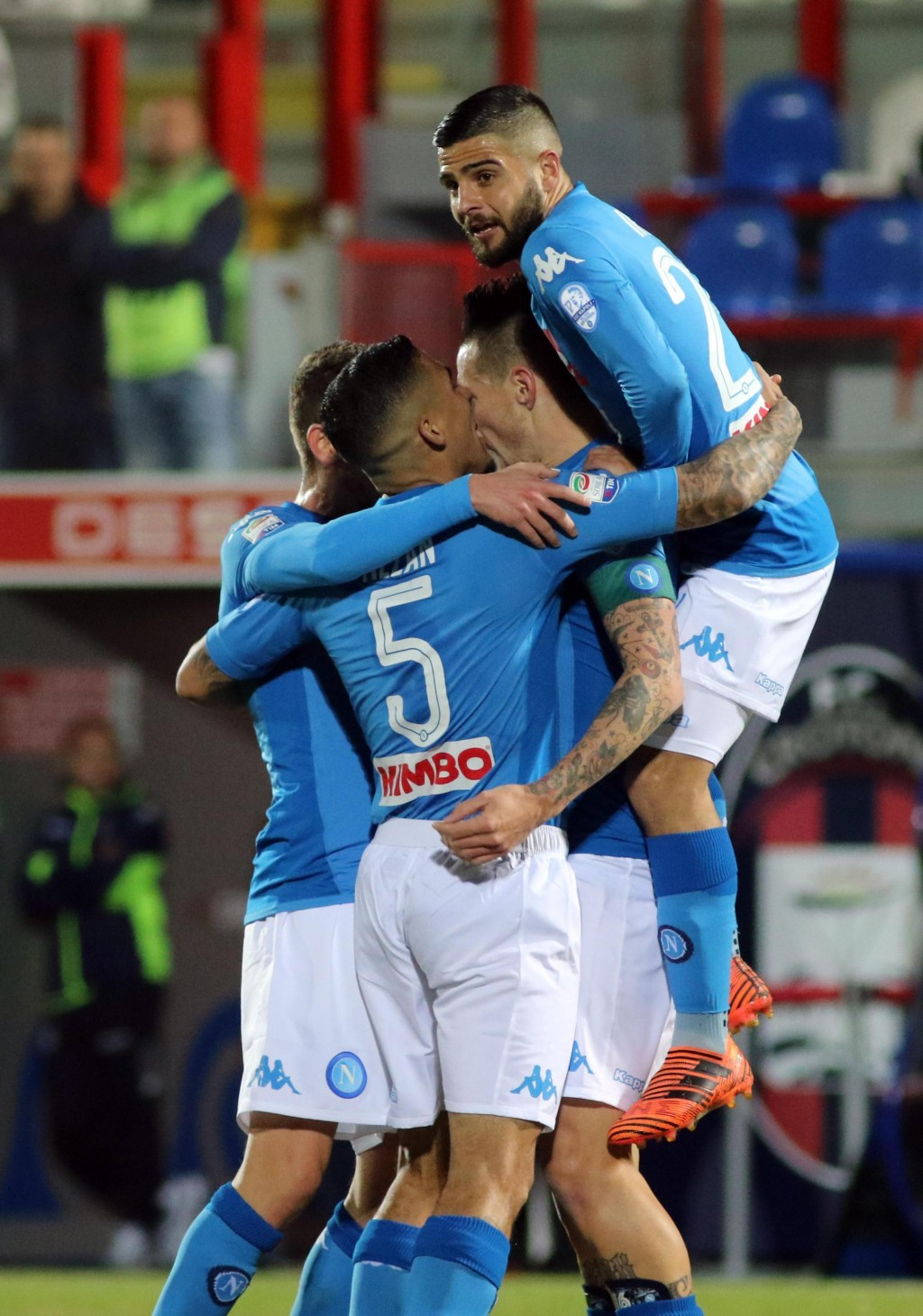 Napoli's Marek Hamsik, second from right, celebrates with his teammates after scoring the opening goal during the Italian Serie A soccer match between...