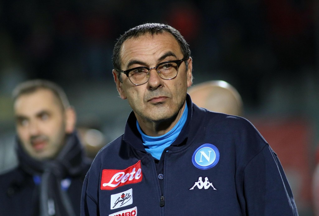 Napoli's coach Maurizio Sarri looks on prior to the start of the Italian Serie A soccer match between Crotone and Napoli at the Ezio Scida stadium in ...