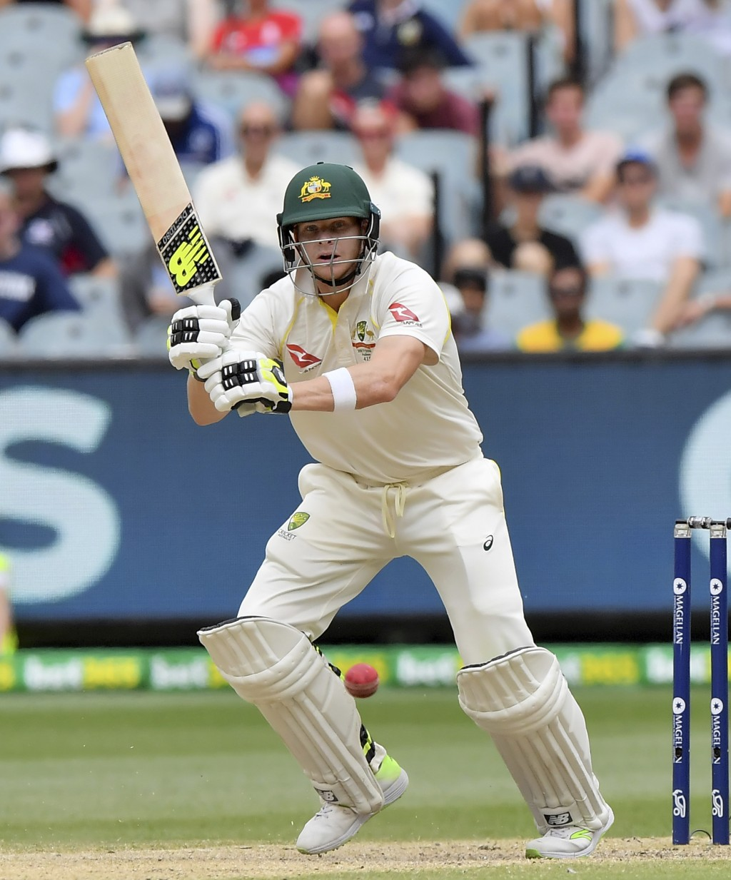 Australia's Steve Smith plays a shot against England during the fifth day of their Ashes cricket test match in Melbourne, Australia, Saturday, Dec. 30...