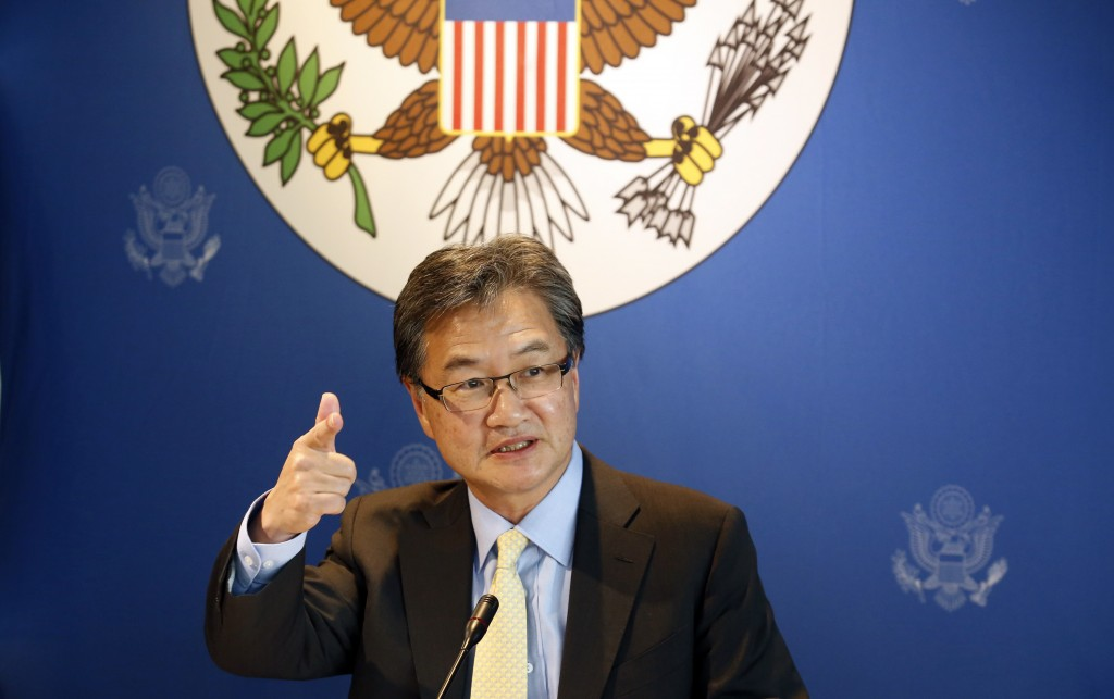 FILE - In this Dec. 15, 2017, file photo, U.S. special envoy for North Korea policy Joseph Yun speaks to media  in Bangkok, Thailand. In the first mon...
