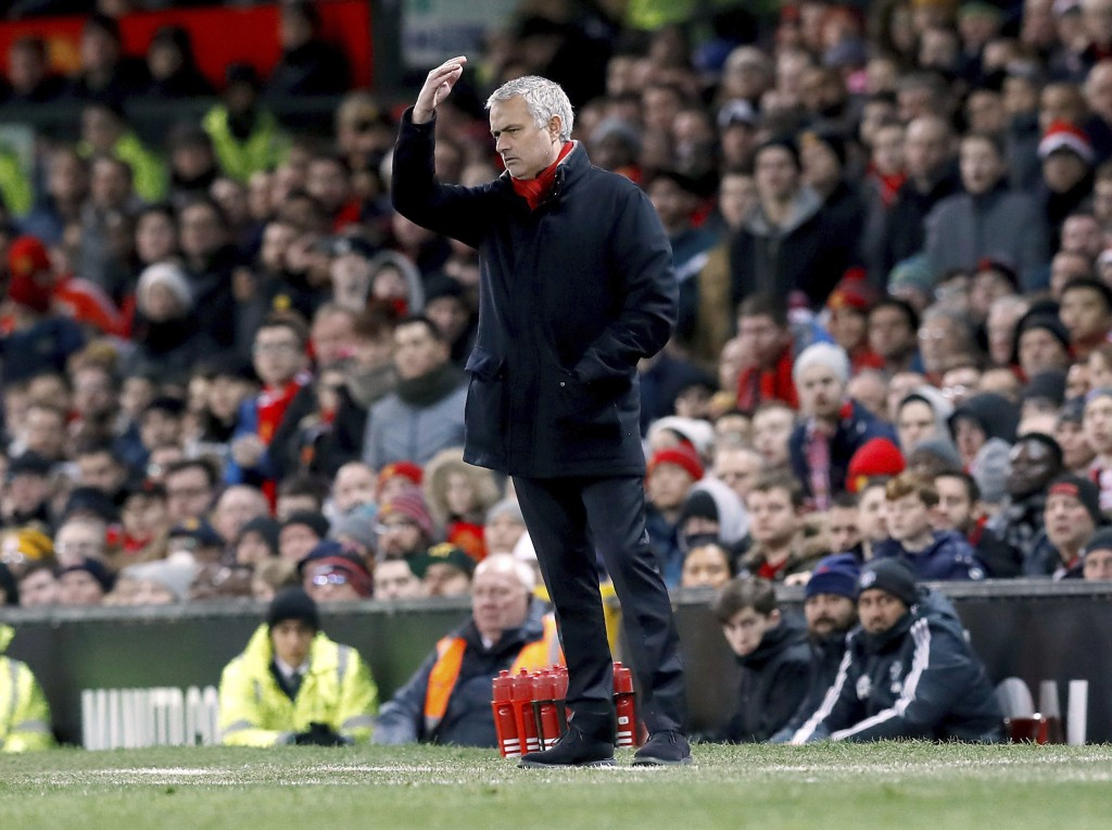 Manchester United manager Jose Mourinho gestures on the touchline during the English Premier League soccer match against Southampton at Old Trafford, ...