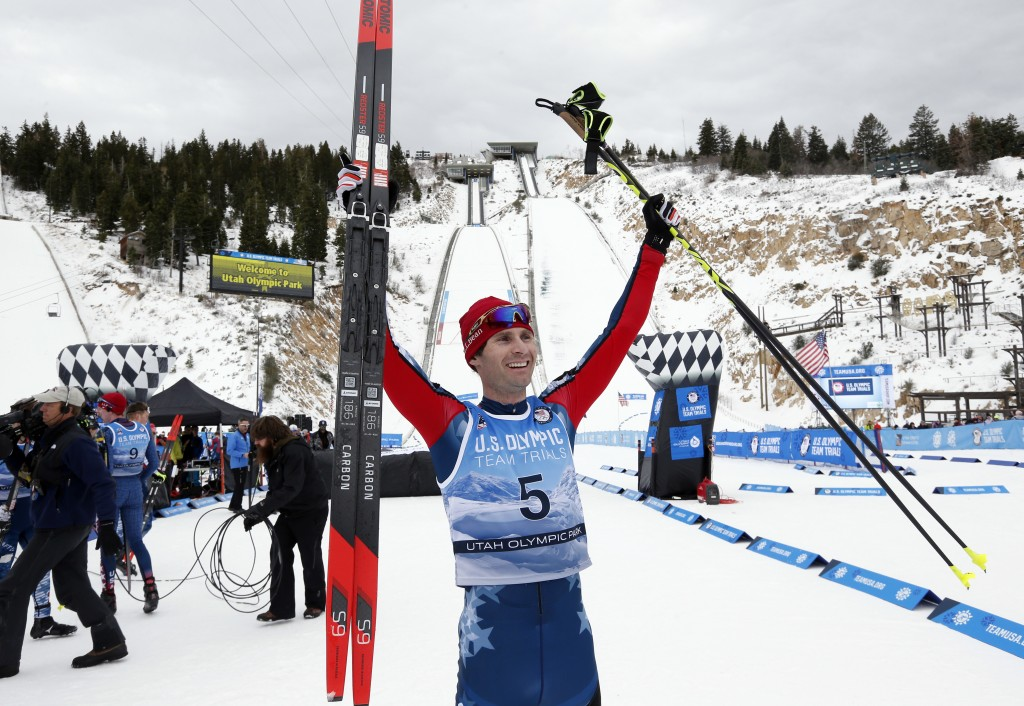 Bryan Fletcher celebrates after winning the cross-country ski portion of the Nordic Combined at the U.S. Olympic Team Trials, Saturday, Dec. 30, 2017,...