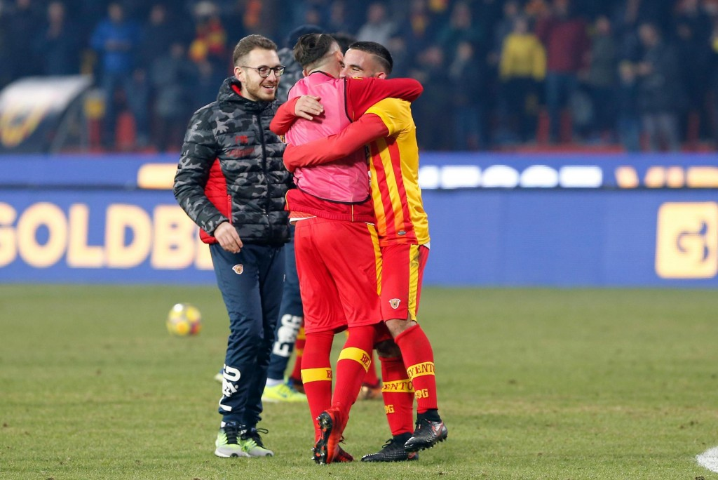 Benevento players celebrate their 1-0 win at the end of the Italian Serie A soccer match between Benevento and Chievo Verona at the Ciro Vigorito stad...