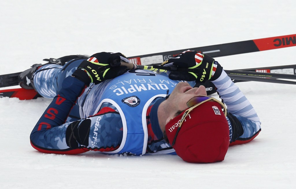 Bryan Fletcher collapses after winning the cross-country ski portion of the Nordic Combined at the U.S. Olympic Team Trials, Saturday, Dec. 30, 2017, ...
