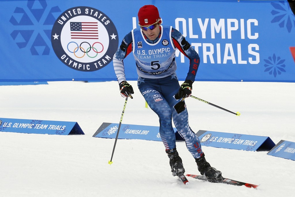 Bryan Fletcher competes in cross-country ski portion of the Nordic Combined at the U.S. Olympic Team Trials, Saturday, Dec. 30, 2017, in Park City Cit...