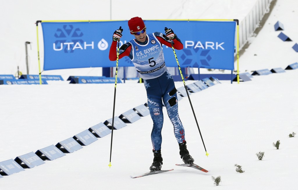 Bryan Fletcher races to the finish line during the cross-country ski portion of the Nordic Combined at the U.S. Olympic Team Trials Saturday, Dec. 30,...