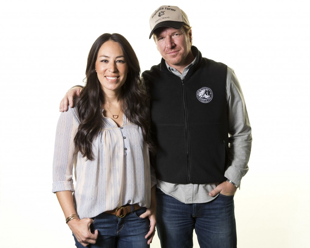 """FILE - In this March 29, 2016, file photo, Joanna and Chip Gaines pose for a portrait in New York to promote their home improvement show, """"Fixer Upper"""