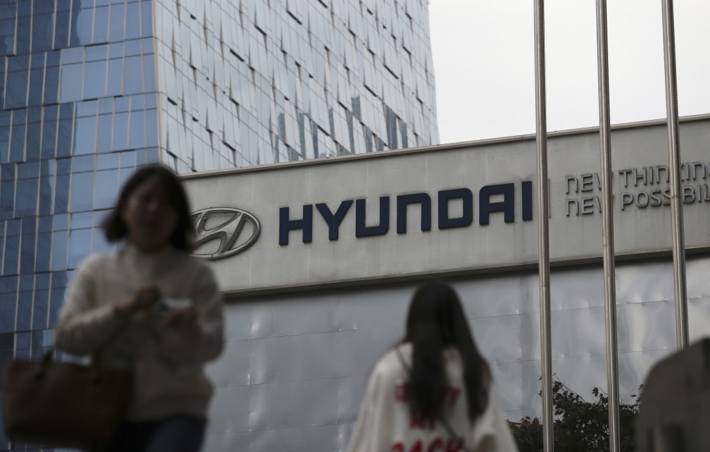 FILE - In this Oct. 26, 2017, file photo, the logo of Hyundai Motor Co. is displayed at the automaker's showroom in Seoul, South Korea. Hyundai Motor ...