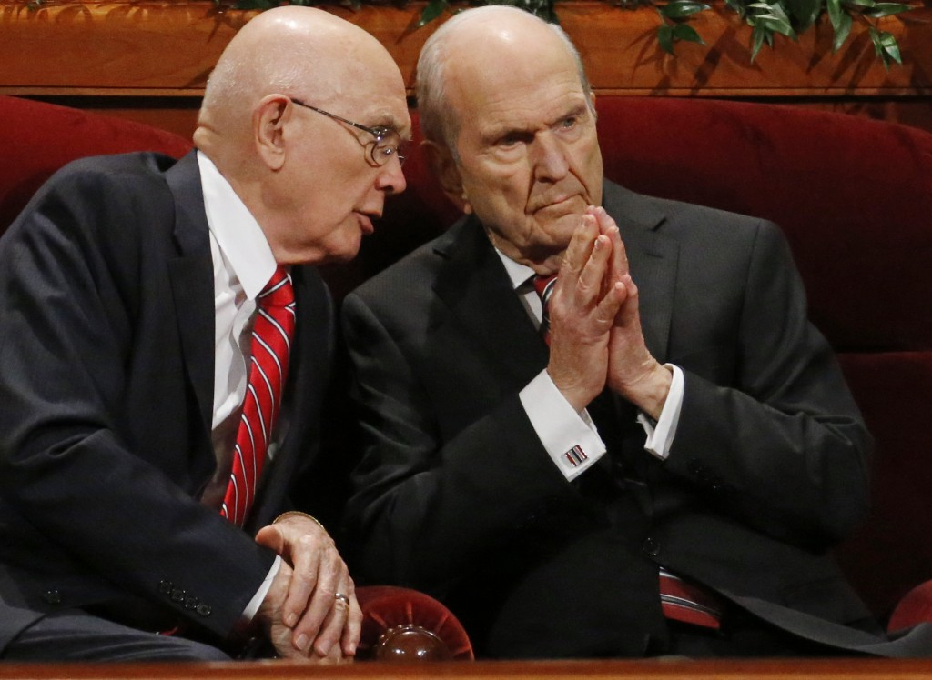 FILE - In this Sept. 30, 2017, file photo, Dallin H. Oaks, left, and Russell M. Nelson, members of a top governing body called the Quorum of the Twelv