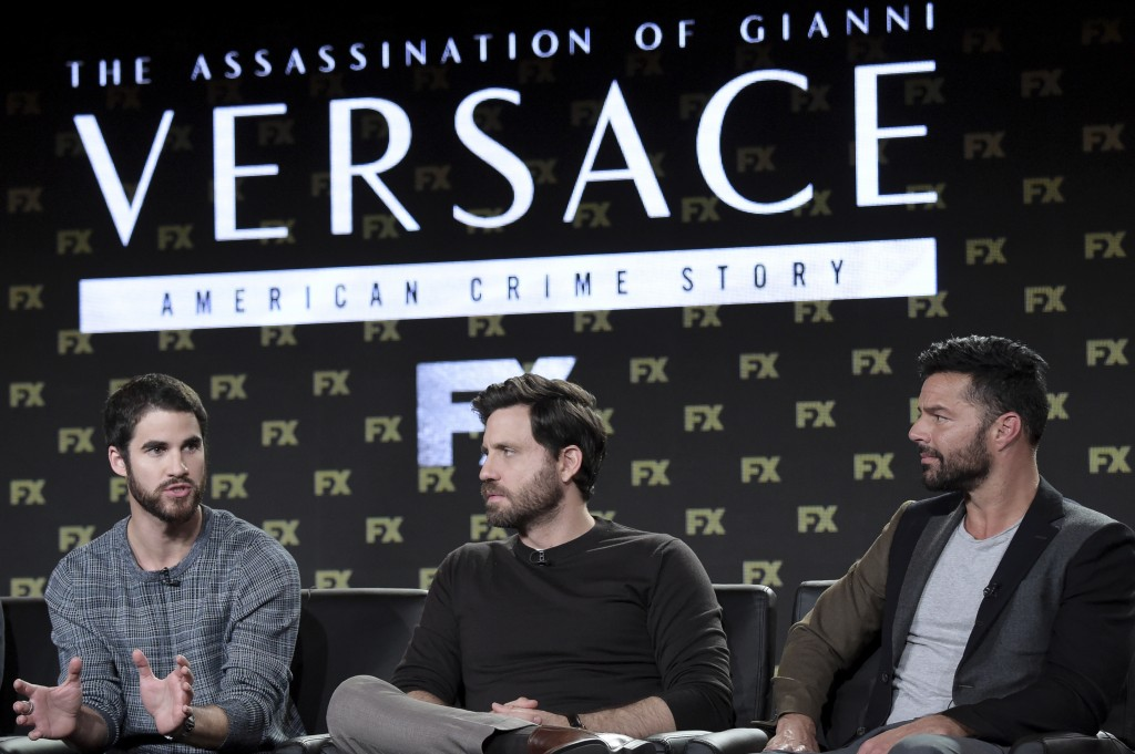 """Darren Criss, from left, Edgar Ramirez and Ricky Martin participates in the """"The Assassination of Gianni Versace: American Crime Story"""" panel during t"""